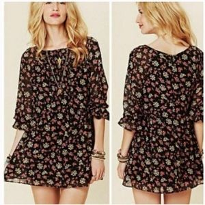 Free People Black Allover Floral Tunic Mini Sz 8